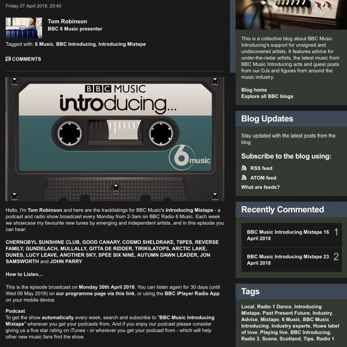 BBC6 Music Mixtape - Tom Robinson April 30th - Reverse FamilyReverse